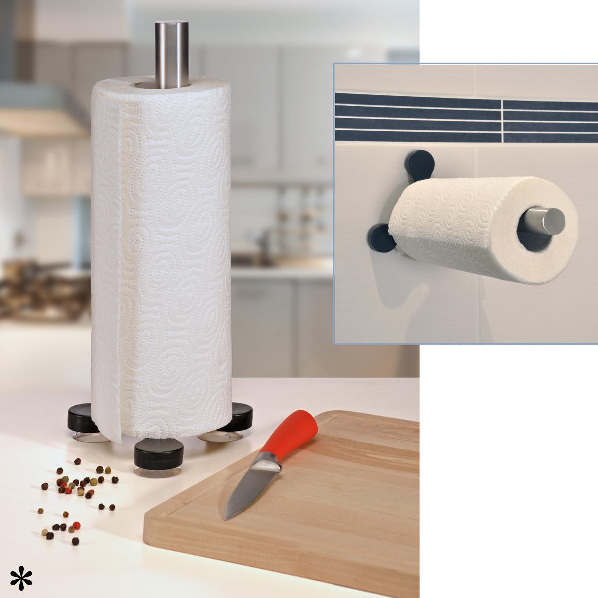 edelstahl wand k chenrollen papierrollen halter st nder ohne bohren saugnapf ebay. Black Bedroom Furniture Sets. Home Design Ideas