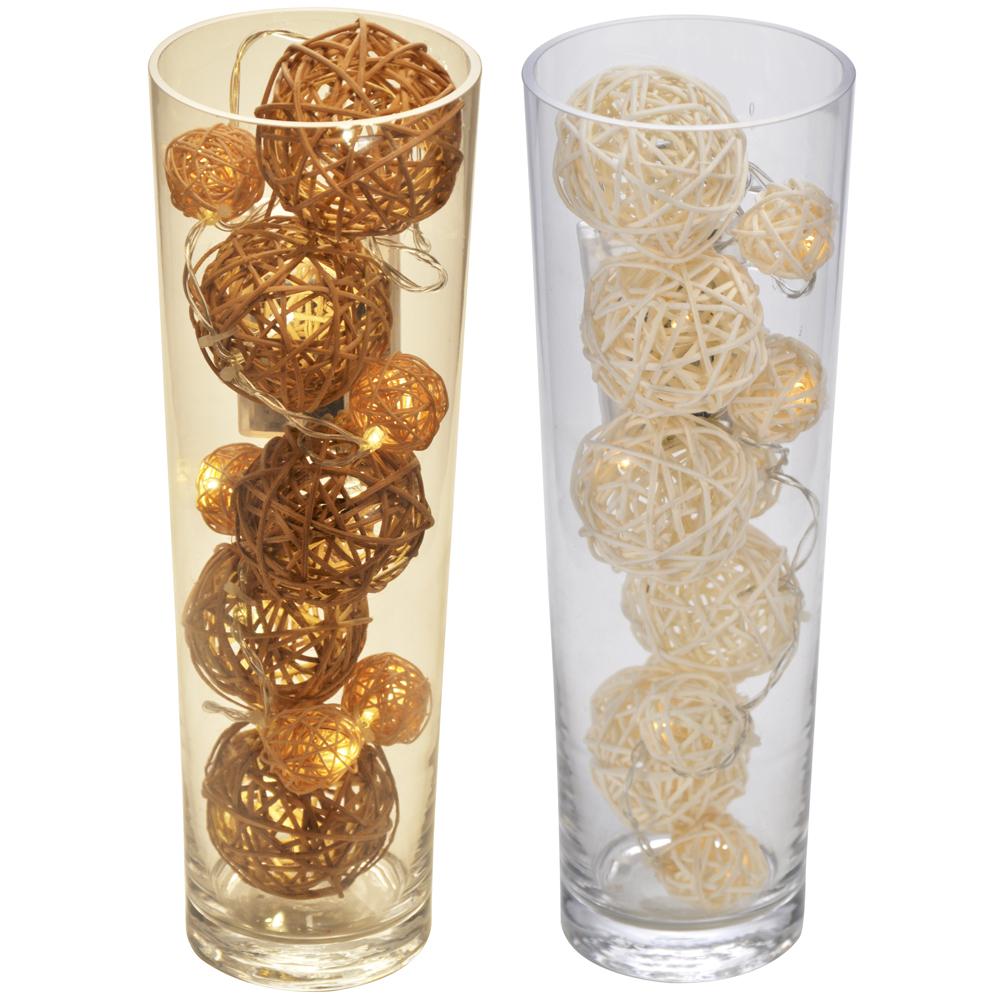 wohnzimmer dekoration glas vase mit 10x led weidenkugel weidenball ... - Grose Vasen Fur Wohnzimmer