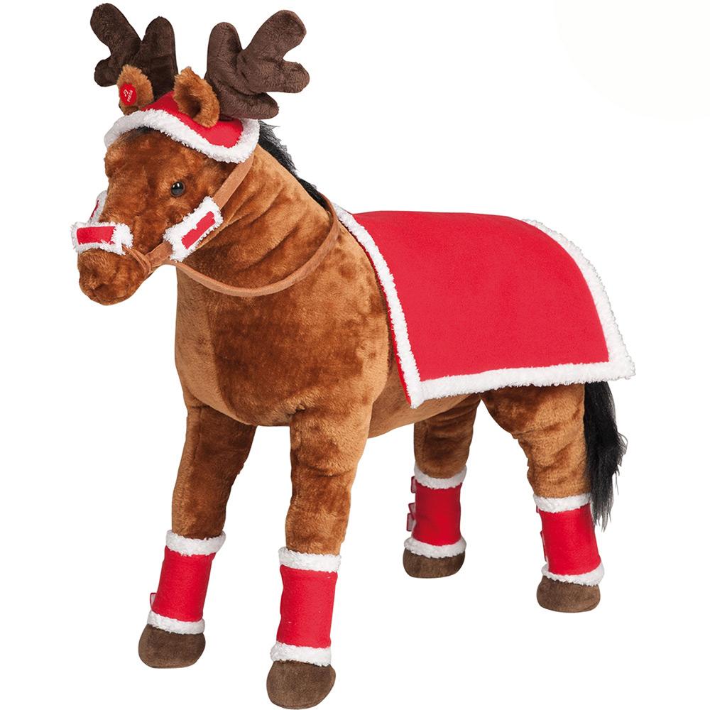 weihnachten decke m tze f r happy people reitpferd pl sch pferd kinder spielzeug ebay. Black Bedroom Furniture Sets. Home Design Ideas