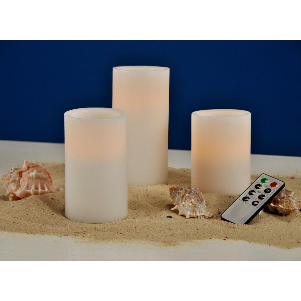 flammenlose led echtwachs kerzen mit beweglicher flamme fernbedienung 3er set ebay. Black Bedroom Furniture Sets. Home Design Ideas
