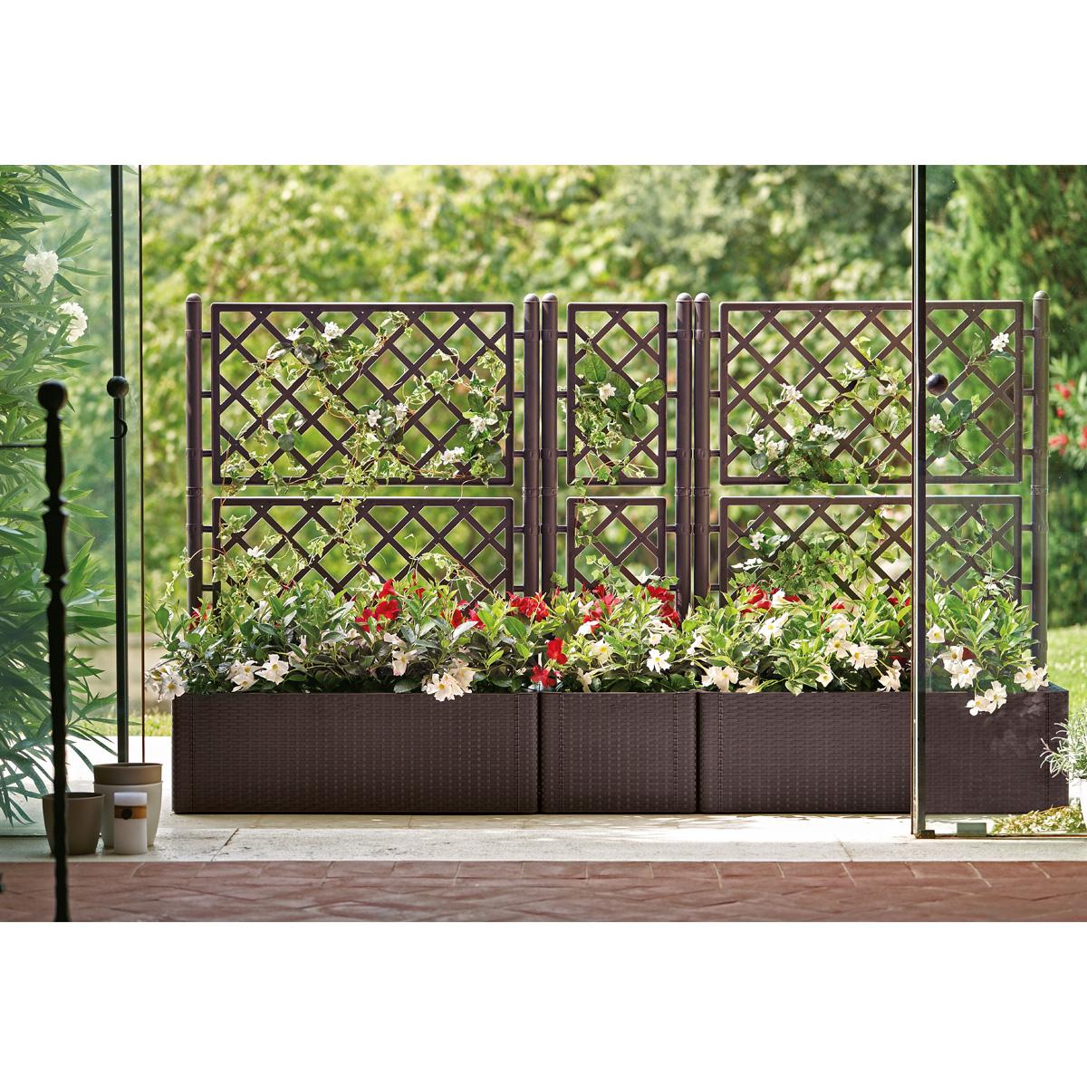 blumentopf pflanzk bel blumenkasten mit spalier. Black Bedroom Furniture Sets. Home Design Ideas