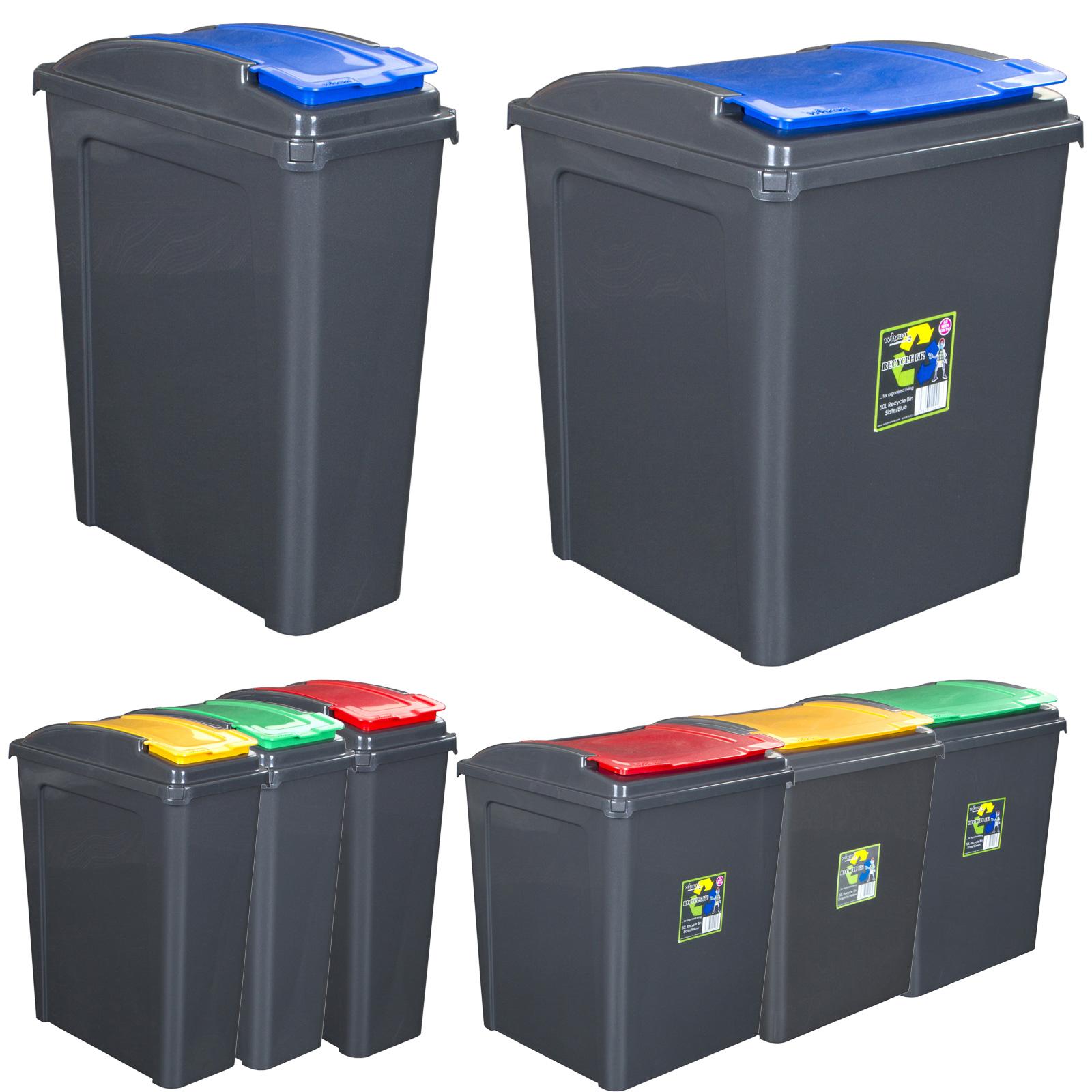 Mülleimer 50 L Abfalleimer mit Schiebedeckel Eimer Papierkorb Abfallsammler BW
